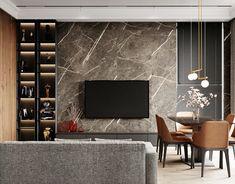 Stylish shower room on Behance Home Room Design, House Design, Living Room Tv Unit Designs, Living Tv, Tv Wall Design, House Rooms, Tv Rooms, Game Rooms, Tv Decor