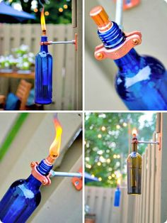 recycled wine bottle tiki torches -this is a great idea for recycling wine bottles Torches Tiki, Wine Bottle Tiki Torch, Outdoor Torches, Citronella Torches, Campsite, Recycled Bottle Crafts, Wine Bottle Crafts, Wine Bottles, Cool Ideas