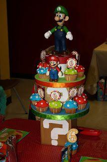 The Gaston Gang: Evan's Birthday-Super Mario Style! Mario Birthday Cake, Super Mario Birthday, Super Mario Party, 8th Birthday, 1st Birthday Parties, Birthday Ideas, Super Mario Cupcakes, Mushroom Cupcakes, Mario Bros Cake