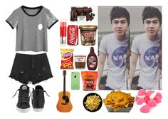 """""""9- lazy day with your fave."""" by fivesosadiction ❤ liked on Polyvore featuring Disney, Hershey's, Urban Outfitters and Converse"""