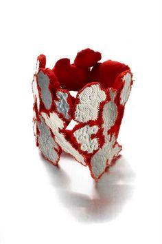 """Carla Movia - """"Bocca di Rosa/2""""  Bracelet 2012 - silver, silk, felt  Photo: Federico Cavicchioli"""