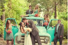 turquoise wedding party + vintage pickup truck