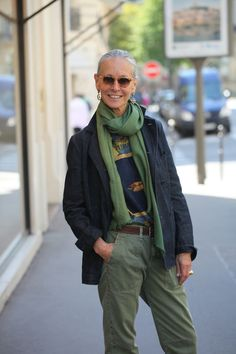 Dark blue denim jacket with loden / sage green scarf by Linda Wright.