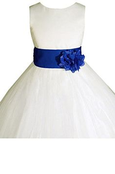 AMJ Dresses Inc Big Girls' Ivory/royal Blue Flower Dress E1008 Sz 12