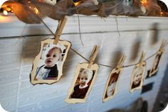 Those of you who saw my Christmas Mantel post noticed the photo garland I made for my mantel. As promised, here is the very easy tutorial showing how to make your own! Christmas Mantels, Christmas Holidays, Christmas Crafts, Picture Banner, Fun Crafts, Paper Crafts, Photo Garland, 80th Birthday, Birthday Ideas