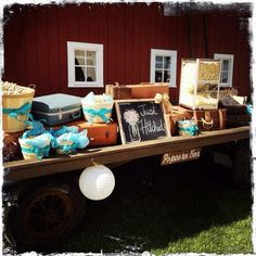 Popcorn bar at a rustic barn wedding styled by Homestead Chic at Exploration Acres in Lafayette, IN