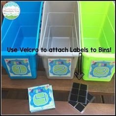 Teacher Hack: Use velcro to attach labels to bins!