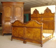 Pair of 19th Century Italian Twin Beds. 18th Century French Louis XV Period Armoire.