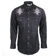 Men's Roper Black and Grey Embroidered Western Shirt at Maverick Western Wear
