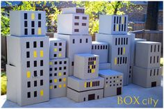 Card board box city for Super Hero v. Villain birthday party, fun!