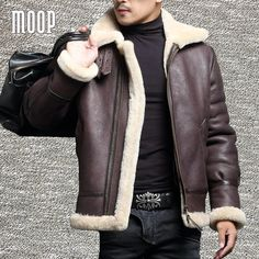 Winter men genuine leather coats sheepskin shearling fur pilot motorcycle jackets manteau homme veste cuir homme LT1107 from UpCube Co..