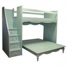 The Simply Elegant Fantasy Full over Queen Bunk Bed from Country Cottage gives your little girl the perfect spot for slumber parties! Four steps with convenient storage drawers with decorative knobs lead up to the full size top bunk Safe Bunk Beds, Queen Bunk Beds, Cool Bunk Beds, Kids Bunk Beds, Loft Beds, Bed Stairs, Bunk Beds With Stairs, Sharing Bed, Elevated Bed