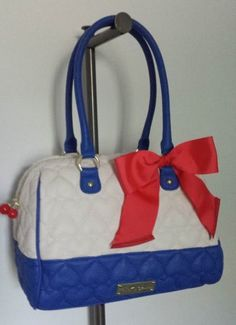 Betsey Johnson BE MINE Satchel CHERRIES, BONE and BLUE Quilted Hearts, RED Bow! #BetseyJohnson #Satchel