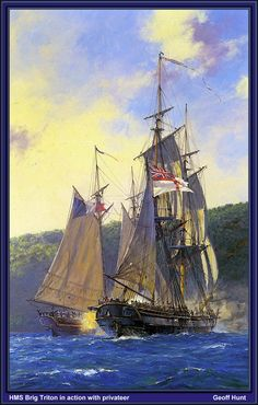 """""""'HMS Triton' in Action With a Privateer,"""" by Geoff Hunt."""