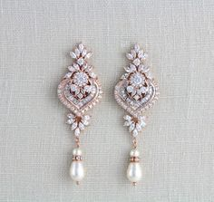 Rose gold Ohrringe Hochzeitsschmuck Braut Ohrringe von treasures570