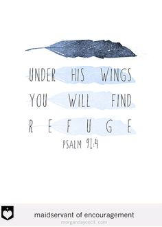 Psalm 91 Under His Wings You Will Find Refuge Nursery Bible Verse Art Poster Printable Blue Feather Nursery Wall Art INSTANT DOWNLOAD
