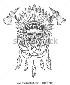 skull indian dream catcher tomahawk - Recherche Google