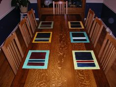 Rothko inspired: Placemats on Dan's Table (recycled oak edged in walnut)