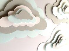 3 Pop Up Paper Clouds, cloud wall art, 3 3d paper clouds, cloud nursery decor…