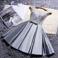 Robe de soirée 2016 de Moda de Nova noiva curto Lace Mancha elegantes vestidos cocktail cinza sem mangas A-line Sexy formal do partido do vestido