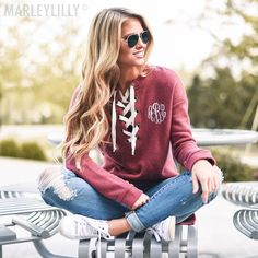 monogrammed lace up tunic