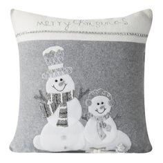Šedobílé dekorační vánoční povlak na polštáře se sněhuláky