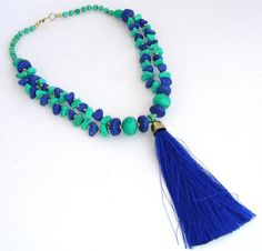 Collier-Sautoir - Céramique Turquoise/Bleu-Indigo - Pompon Soie : Collier par ladyplazza