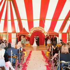 A vintage circus wedding in a real circus tent - what a great backdrop! #weddinggawker