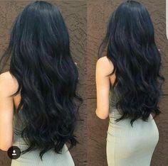 Black Hair Thick black hair is such a beauty … – Schwarze Frisuren Long Dark Hair, Long Layered Hair, Long Curly, Beautiful Long Hair, Gorgeous Hair, Black Hair Perm, Black Hair Layers, Soft Black Hair, Brown Hair