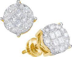 14KT Yellow Gold 2.0CTW PRINCESS ROUND DIAMOND LADIES SOLIEL EARRINGS