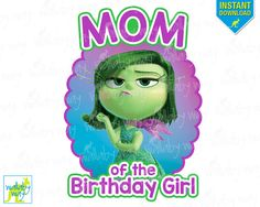 Inside Out Birthday MOM of the Birthday Girl Printable Disney Iron On Transfer or Use as Clip Art - DIY Inside Out Shirt Personalize Disgust by TheWallabyWay on Etsy
