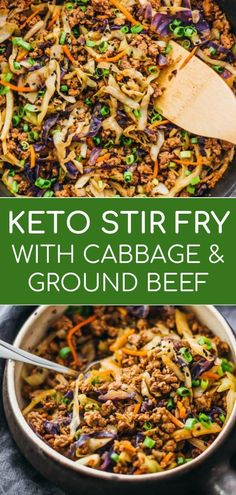 This is a super fast and easy stir fry dinner with ground beef cabbage carrots and scallions. This is a super fast and easy stir fry dinner with ground beef cabbage carrots and scallions. Cabbage Stir Fry, Chicken And Cabbage, Ground Beef Recipes For Dinner, Dinner With Ground Beef, Recipe With Ground Beef And Cabbage, Keto Recipe With Ground Beef, Dinner Recipes, Keto Stir Fry, Tofu Stir Fry