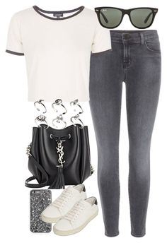 """Untitled #3431"" by plainly-marie ❤ liked on Polyvore featuring J Brand, Topshop, Yves Saint Laurent, Ray-Ban and ASOS"