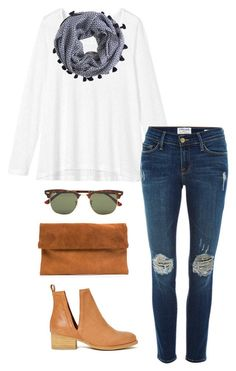 ray-ban clubmasters by kcunningham1 ❤ liked on Polyvore featuring moda, Ray-Ban, Toast, Frame Denim, J.Crew, Jeffrey Campbell, womens clothing, women, female y woman