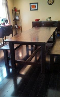8 Foot Long Farm House Style Table And Benches