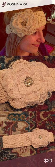 Floral lace rhinestone head wrap Super cute floral head wrap with lace and rhinestone detailing! Has two buttons for size adjustment! Other