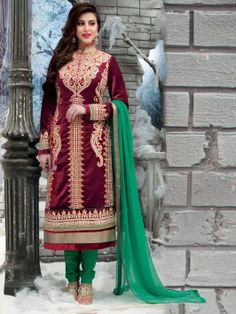 Maroon Velvet Suit With Resham And Zari Embroidery Work