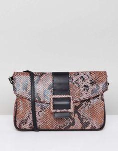 eac8b5ec0e4 ASOS DESIGN leather 90s shoulder bag in snake  shoulderbagsasos