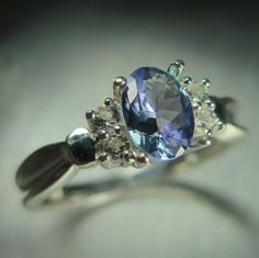 0.80ct Natural Blue Tanzanite oval cut & white topaz 925 by EVGAD