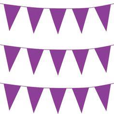 10m Long Purple Pennant Triangular Plastic Bunting Carnivals Fetes Parties