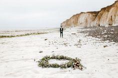 Beach ceremony floral wreath