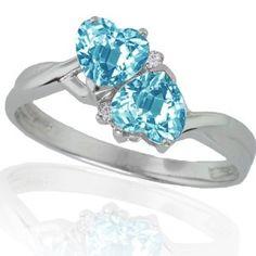 wedding rings finger , 10k White Gold Blue Topaz and Diamond Heart Ring (.02 cttw, I-J Color, I1 Clarity) REVIEW