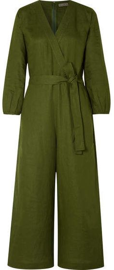581fc3be7d Crew - Fontana Belted Wrap-effect Linen Jumpsuit - Army green