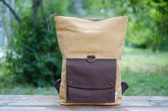 Canvas Backpack with Brown Leather Details. Roll Top by kakutani