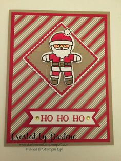 Cookie Cutter Christmas Stamped Christmas Cards, Merry Christmas Card, Stampin Up Christmas, Christmas Cards To Make, Christmas Greeting Cards, Christmas Crafts, Christmas 2016, Christmas Candy, Handmade Christmas