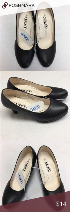 Fashionable Women round tip low heel pumps There are sizes 6, 7, 8, 9, and 10                                             100% Brand New.                                                                  Material: Leather                                                                    Color: Solid Black Shoes Heels