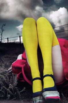 the dark sky with the bright socks - just beautiful Frida Gustavsson, Caroline Brasch & Hailey Clauson by Mert & Marcus for W March 2011
