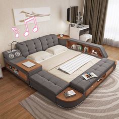 Tatami bed master bedroom modern and simple storage bed bed 1.8 meters of cloth bed sound intelligent multi-function