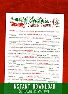 "These Christmas mad libs would be the perfect activity to play after watching the classic holiday film ""A Charlie Brown Christmas."" Download your family friendly game today!"