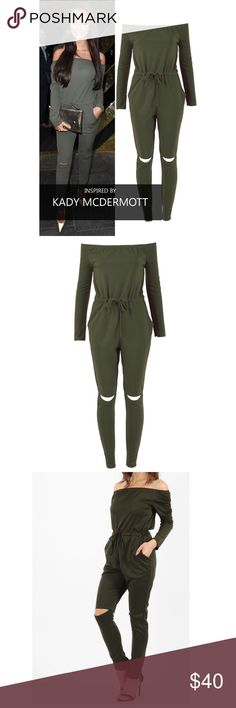 Trendy celeb inspired jumpsuit Bardot neckline Jogger front pockets Stretchy fabric. Other
